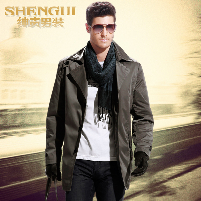 Shen long in your spring 2013 new style men's windbreaker jackets for men men's business casual plus size trench coat men