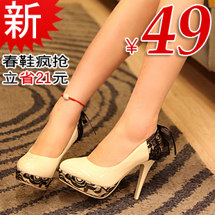2012 spring Amoi genuine danxie clearance sweet lace bow super high heel patent leather platform shoes women's singles