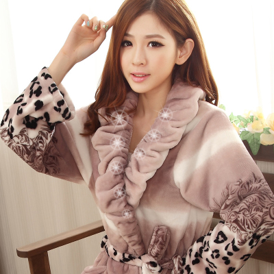 Ms. autumn and winter flannel nightgown long section thick coral velvet tracksuit long-sleeved nightgown bathrobe couple