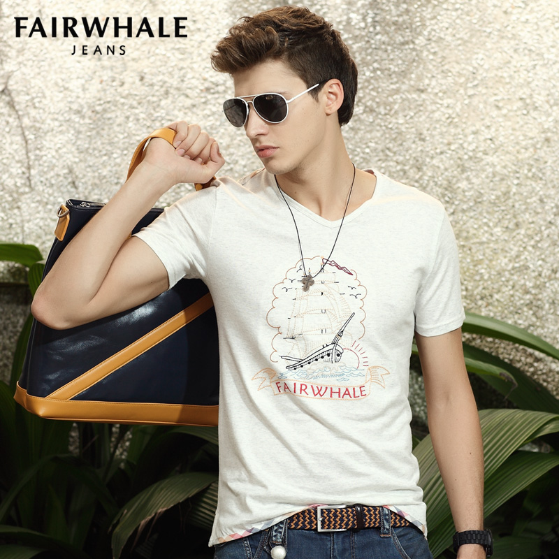 Mark Fairwhale summer wear short sleeve T-shirt 2014 new models Han edition men's cotton T-shirt authentic men's 7081 Taobao Agent