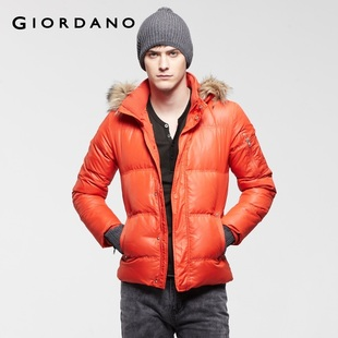 Special second kill Giordano jacket men's wear bright colored removable flash Hat-Fu long down jacket 01071527