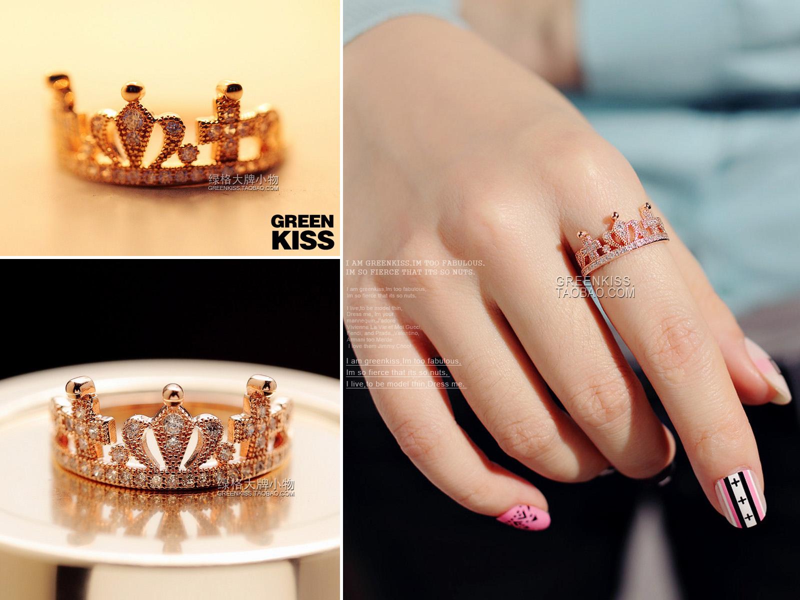 T-PA Корейский моды инкрустация микро цирконий корону дрель Винтаж барокко крест Flash бриллиант палец женщины кольца кольца