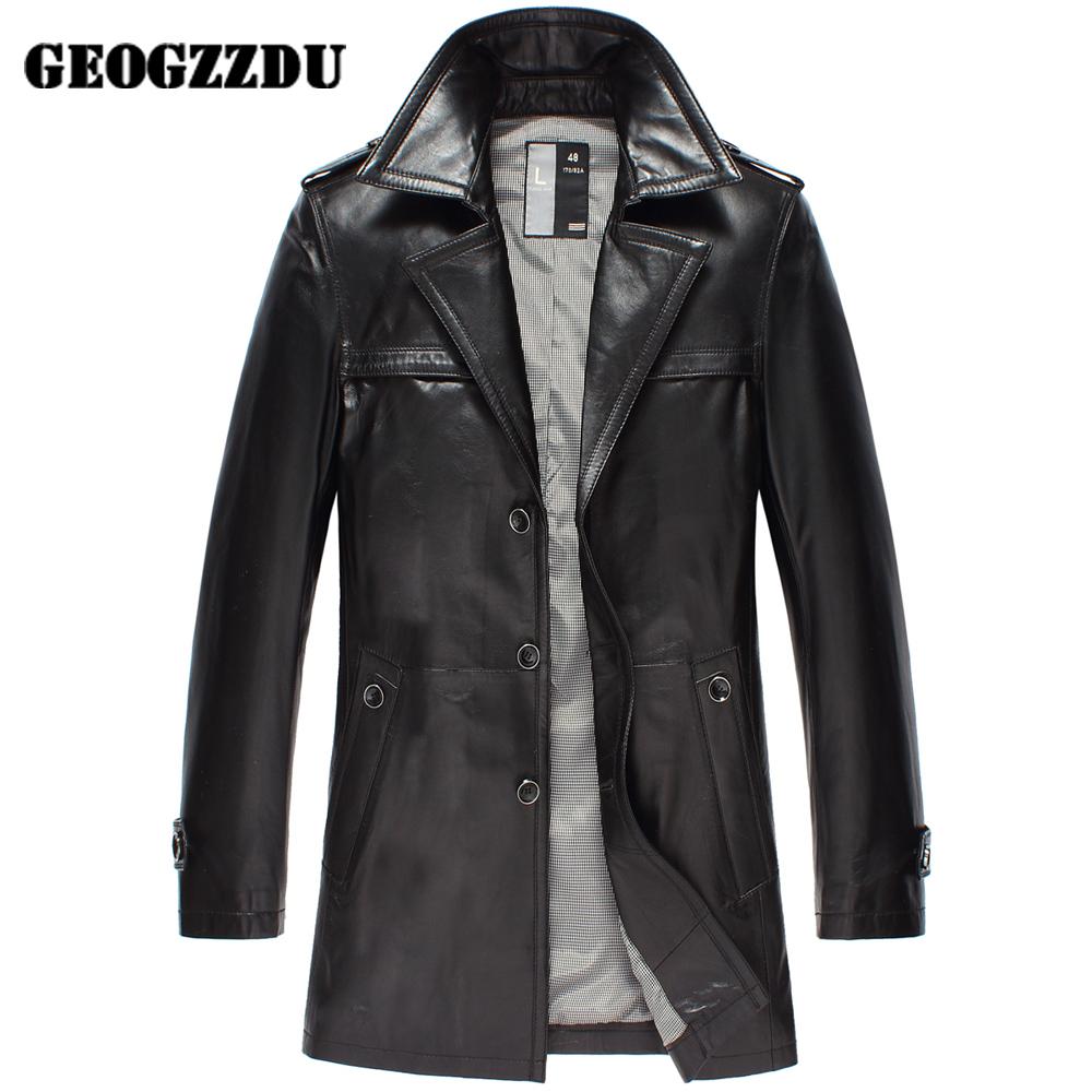 2014新款男士綿羊皮風衣長款海寧真皮皮衣西裝領皮大衣單春裝外套圖片