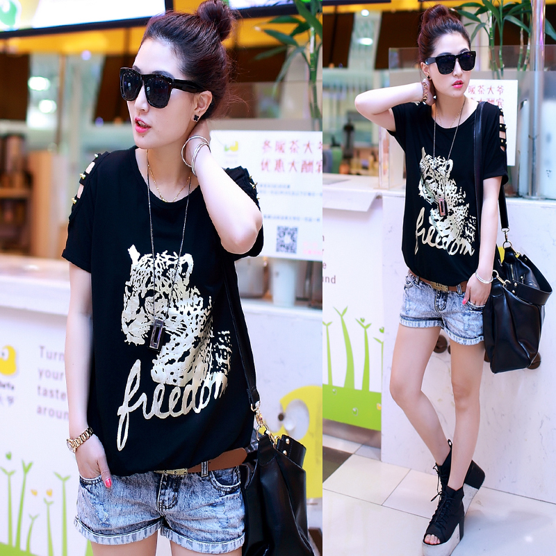 Female T-shirt with short sleeves batwing coat loose 2014 summer wear new dress code ms half sleeve blouse in summer Taobao Agent