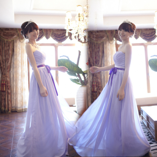 MaxMara new style elegant purple bride boob tube top dress evening dress fresh Korean cute bridesmaid dresses
