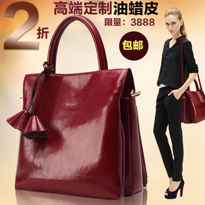 2014 new European and American retro leather handbag shoulder bag ladies bag tide female models big bag handbag fashion bags