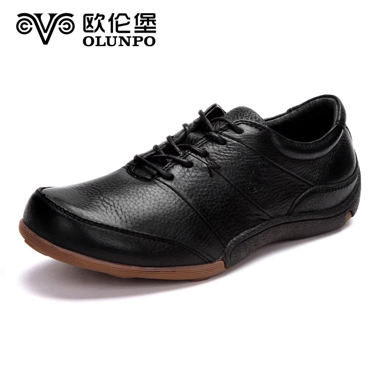 Демисезонные ботинки Olunpo m04141 Обувь на тонкой подошве ( для скейтборда ) Для отдыха Верхний слой из натуральной кожи Круглый носок Шнурок Весна и осень