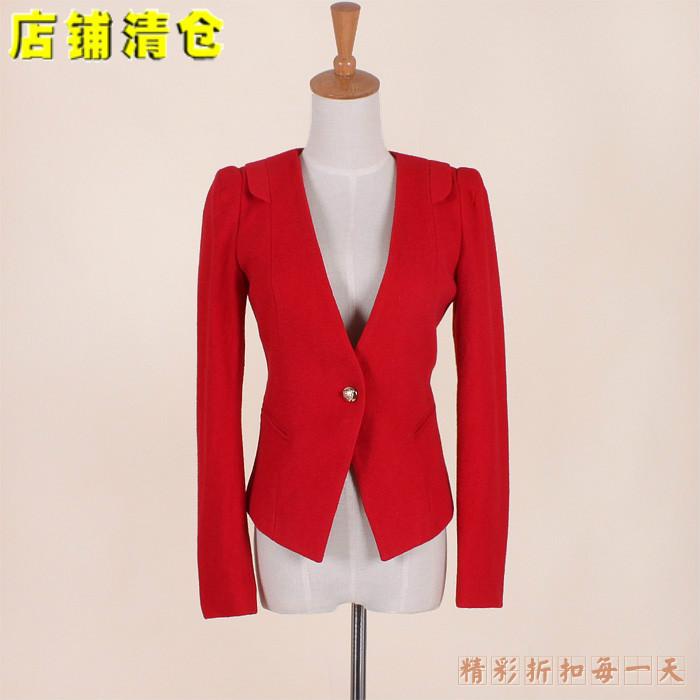 женское пальто Бренд скидка искусства s Весна 2014 новый 70010 моды большие v одну кнопку тонкая шерсть воротником