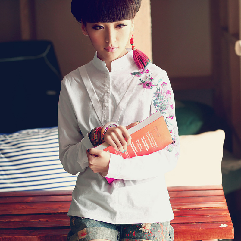 LIEBO  The new spring 2014 collar Henley shirt women long sleeve shirts Chinese style Taobao Agent