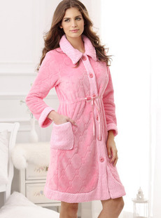 Dream ba Sally 11 new lady household to take  waist warm coral flocking household robe 01481