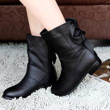 纪梵玛丽2014新款春秋季真皮短靴 时尚女靴马丁靴 蝴蝶结低跟单靴图片