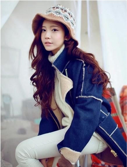 Кожаная куртка 滢 滢 2013 Корея покупки зимних Корейский лацкан тонкий длинный рукав дамы замши пальто