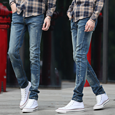 Timor Island Tiger men's skinny jeans stretch pants feet Slim Korean version of casual trousers autumn influx of youth popular