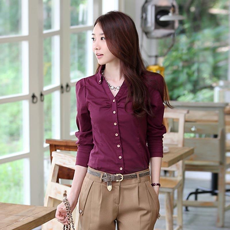 женская рубашка Mei attachment L61 2013 Повседневный Длинный рукав Однотонный цвет Осень 2012