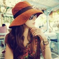 春夏帽子韩版潮女士渔夫帽 时尚高档鹿皮绒蝴蝶结遮阳线帽子