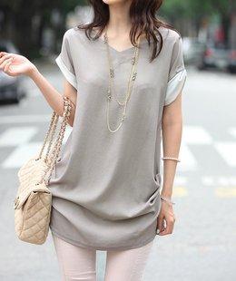 2014夏季短袖雪纺中长款纯色大码V领女T恤打底衫上衣