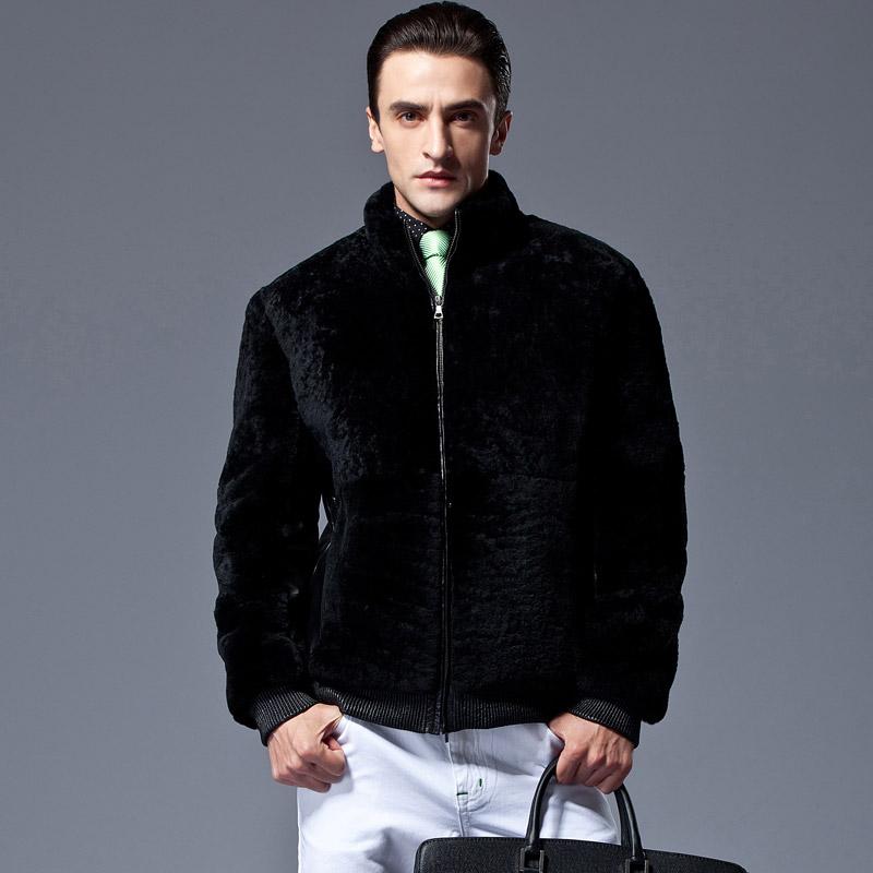 新款皮毛一体 男式休闲真皮皮衣外套 羊毛大身 绵羊皮 修身