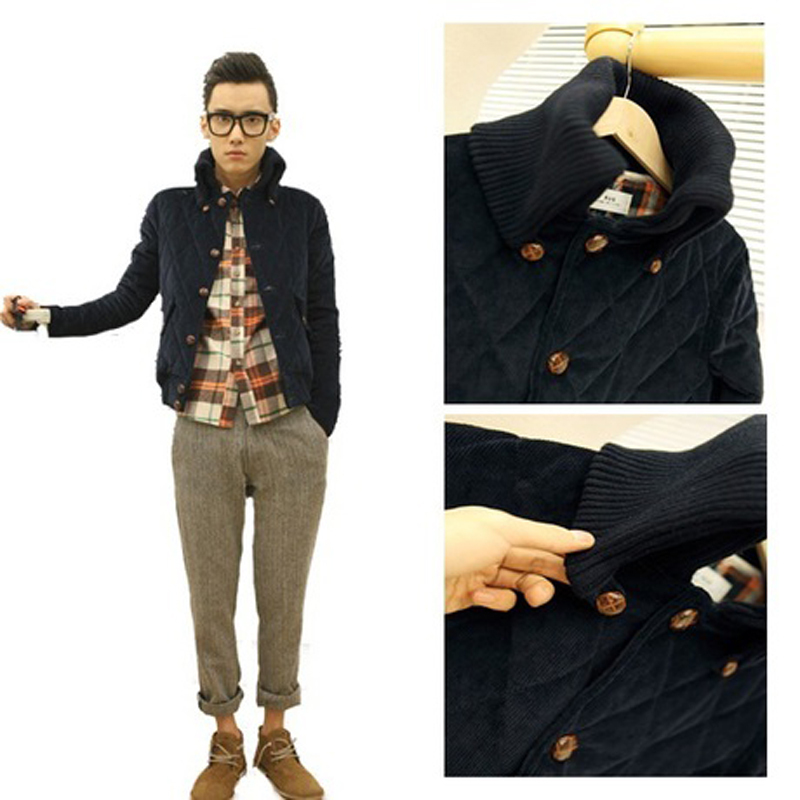 New Korean version for autumn/winter men's diamond mens short jacket of corduroy warm large collar coat