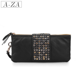 AZA-2012 Summer MaxMara new style Lady cards packs in  skins rivet leather purse hand bag 77,713