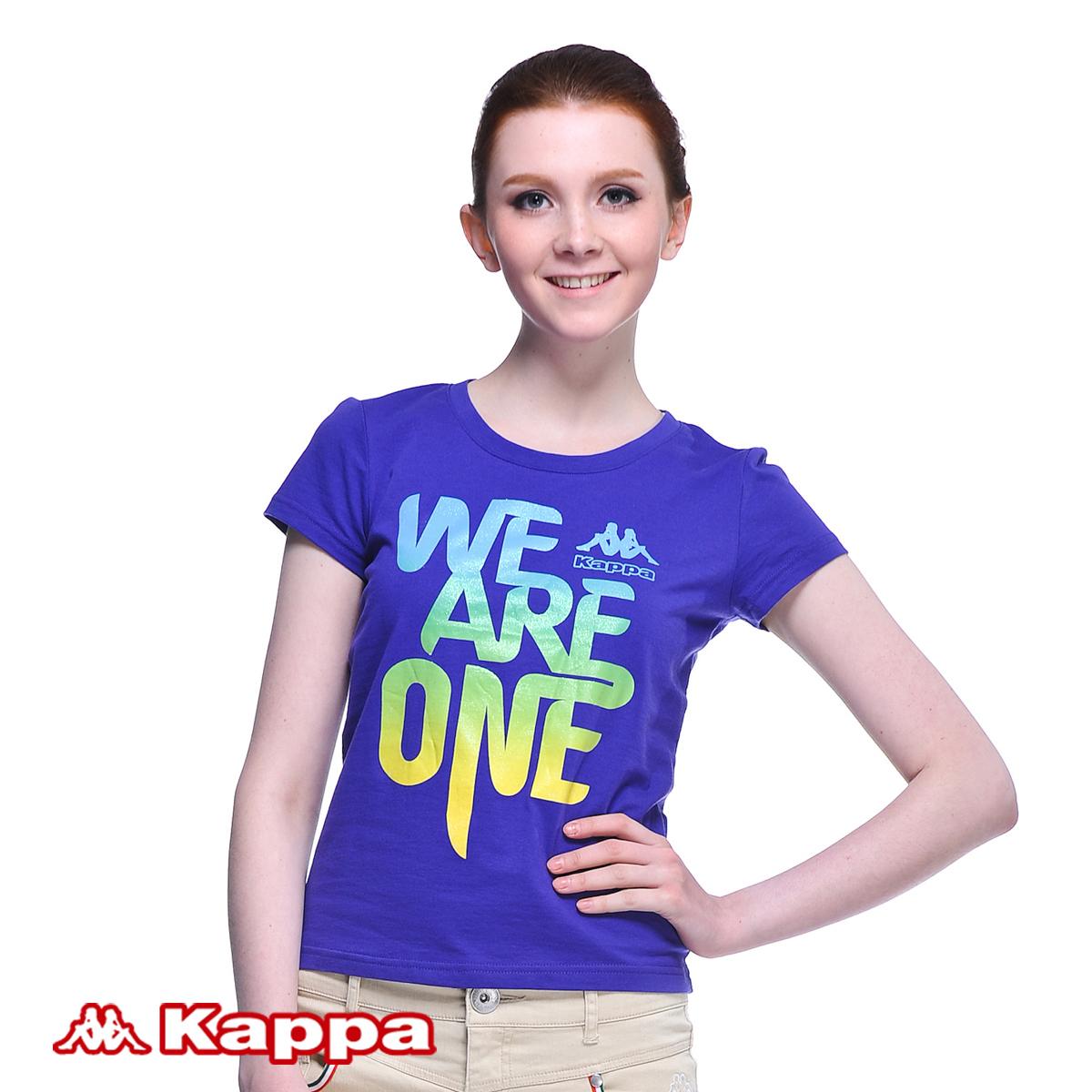 Спортивная футболка KAPPA k0122td20/479 K0122TD20-479 Стандартный О-вырез Короткие рукава ( ≧35cm ) 100 хлопок Для спорта и отдыха Воздухопроницаемые % Линейная, Логотип бренда, Надпись