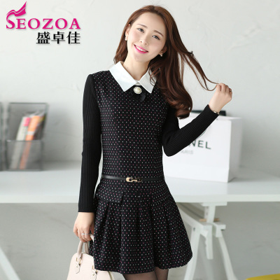 Hitz 2014 autumn and winter women's long-sleeved wool dress lapel Slim bottoming Polka Dot Floral Skirt