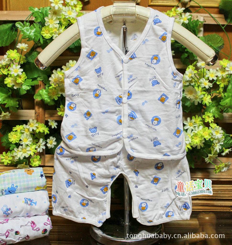 детский костюм Детская одежда младенческой хлопка жилет костюм летних мужчин и женщин жилет + открытие шорты 100 хлопок Лето % Унисекс