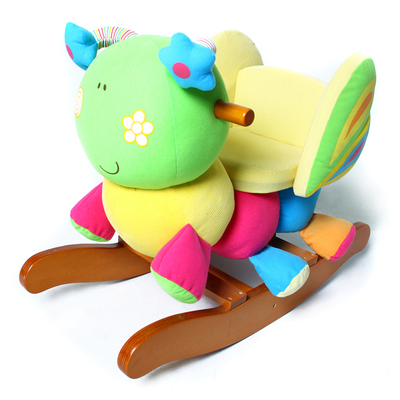 Early childhood educational toys Ha Kiyan horse rocking horse rocking horse rocking horse wood butterfly children's toys, baby toys