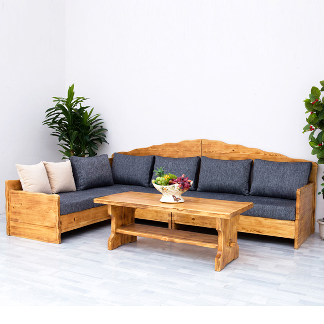 real-time wooden sofas, pine wood, combined with an idyllic furniture, American rural ecological furniture real wood sofa set design