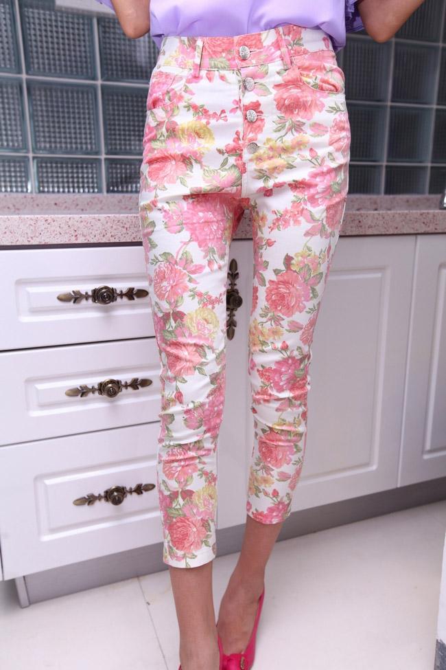 Женские брюки Корейский ретро печати обрезаются ретро цветок цвета обрезанное высокой талией брюки брюки, брюки брюки карандаш Брюки чуть выше щиколотки Узкие брюки-карандаши Другое