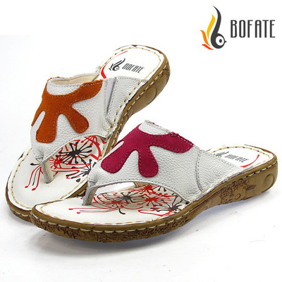 Step Buffett Korean version of the new summer casual leather head skin slope with heavy-bottomed sandals and slippers women flip flops