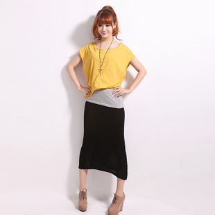 2012 Summer new Korean character mosaic stretch skinny 3 round neck short sleeve t-shirt dress WQ1507