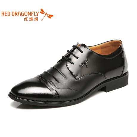 红蜻蜓真皮男单鞋 春秋款男士英伦商务系带正装皮鞋男鞋子3543商品大图