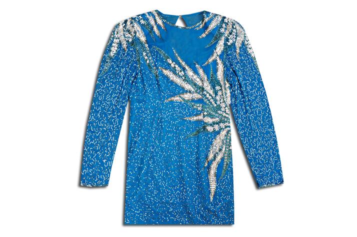 Женское платье Продан тяжелой промышленности Европы, именитых бесхозных сокровищ синий бисером Винтаж Balmain Balmain платье