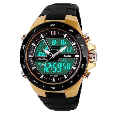 Korean fashion men's watch dual display multifunction sports watch waterproof LED electronic watches female students watch