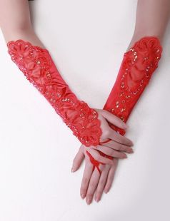 Bride wedding gloves red lace mitten glove accessories wedding dress cheongsam gloves