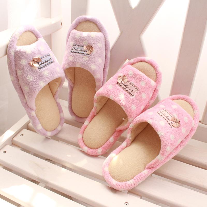 特!唯美公主粉点 韩国可爱 女生 春秋居家拖鞋 家居地板棉拖鞋