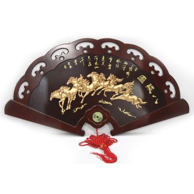 Mei Xiang Qi Chen upscale sector dimensional relief Eight Horses Chinese paintings decorate the living room den plaque plaque