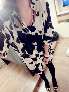 9003#2015春夏新款韩版不规则设计感宽松奶牛纹大版女装雪纺衬衣