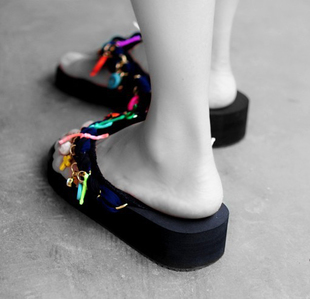 Beautiful hand-made CONTRAST COLOR element remix wedges flip-flops slippers