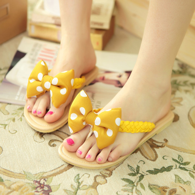 Summer sweet candy-colored flat heel women shoes comfortable flat sandals bow wave point sandals and slippers