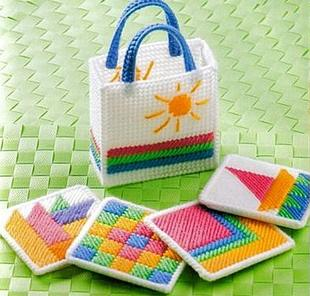Three-dimensional cross-stitch embroidery kit color coasters