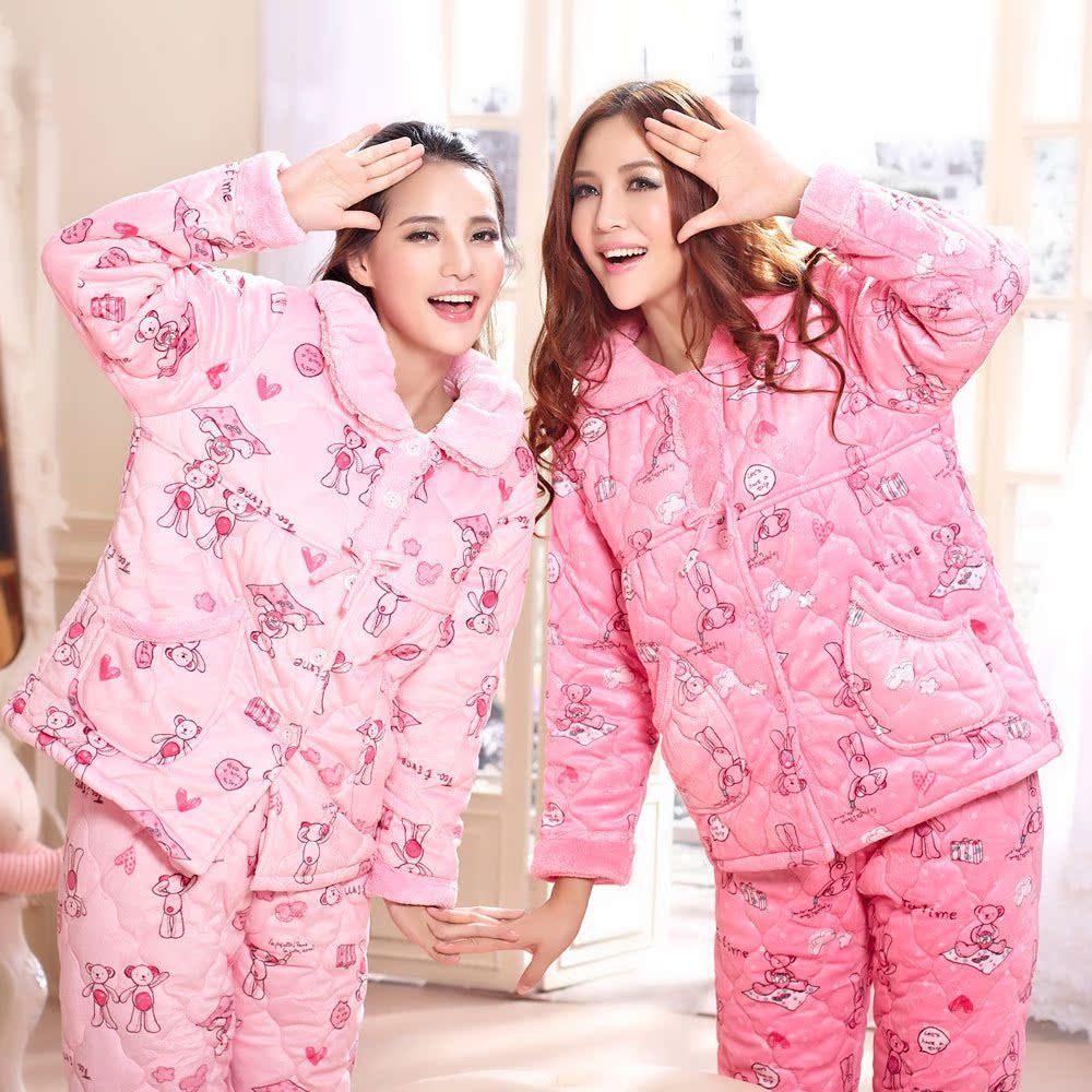 女士睡衣长袖卡通甜美可爱冬季加厚珊瑚绒夹棉家居服套装美梦睡衣