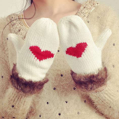 Перчатки 2012 Новый корейский диких милые сердцам любовь Вязание Шерсть перчатки варежки женщин xst06