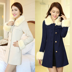 korean style wool coat thick woolen coat fur collar