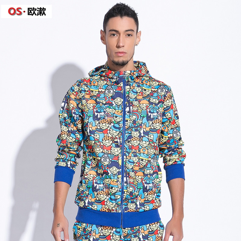 Men's fleece thin section cartoon printing leisure hooded cardigan coat Taobao Agents
