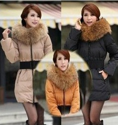 oversized fur collar slim Down