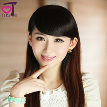 KeMu wig Cute girls high temperature silk matte bang slice blade type oblique contact sideburns realistic hair band
