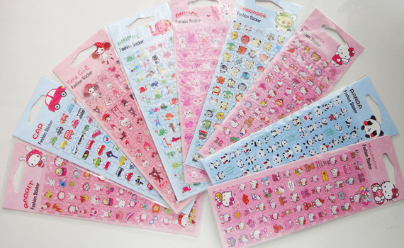 Korea hot super cute cartoon large zip around wallet color stereo puzzle sticker Super style