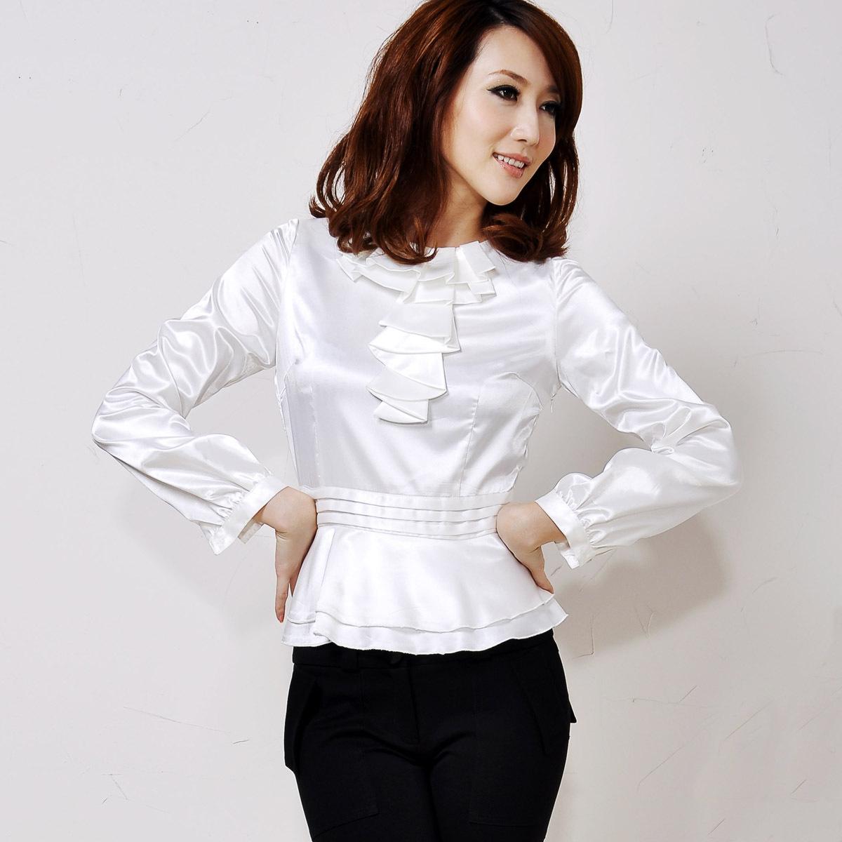 женская рубашка MATCHE mi311180 Ol Casual Длинный рукав Однотонный цвет Закругленный вырез