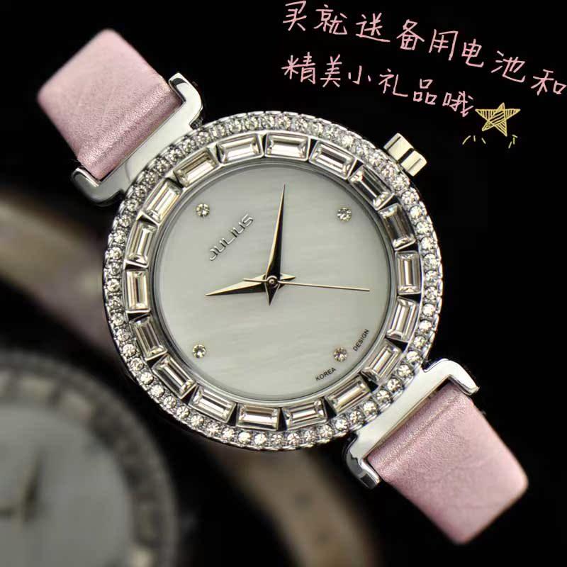 聚利时正品石英表韩国时尚奢华水晶水钻表闪金表带